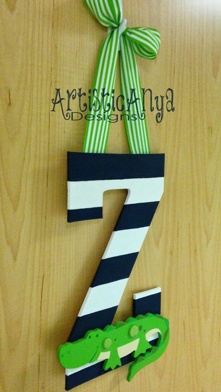 Artistic anya designs alligator initial door hanger easy for Door hanger design ideas