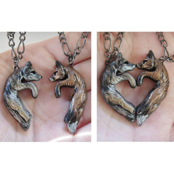 Wolf and Fox Love Necklace His and Hers Heart Kissing Couple ($37) ❤ liked on Polyvore featuring jewelry, necklaces, heart pendant necklace, chain necklace, heart shaped necklace, magnetic heart necklace and animal necklaces