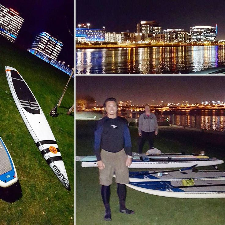 Got in a chilly lap last night with 6 diehards! #teamsnotcicles.  Gonna try again tonight - farther and faster - before the winter weather advisory sets in.  . . #nightpaddle #training #hanohano #leukemiacupregatta #verderiverrunoff #supevents #fitness #frozentoes #tempe #tempelife #paddleboard #suplife #supaz #riverboundsports #riverbound