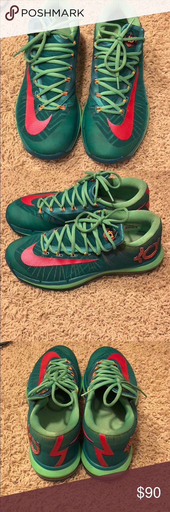 KD Nike basketball shoes KD basketball shoes! These are used but only minimal size of wear! Shoe is in excellent condition. Thread is still perfect on bottom, little signs of wear. These are men's size 9! Nike Shoes Sneakers #basketballshoes