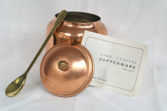 Vintage Copper Honey Pot with Lid and Spoon  by TheGarnishRoom
