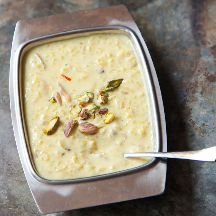 Kheer (Indian Rice Pudding)-- This traditional cardamom-scented Indian rice pudding owes its particular richness to the inclusion of whole milk, which has been reduced by half during the cooking process to produce a thick, creamy base.