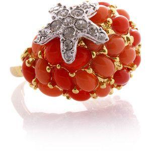 KENNETH JAY LANE Coral Hvězdice Cocktail Ring