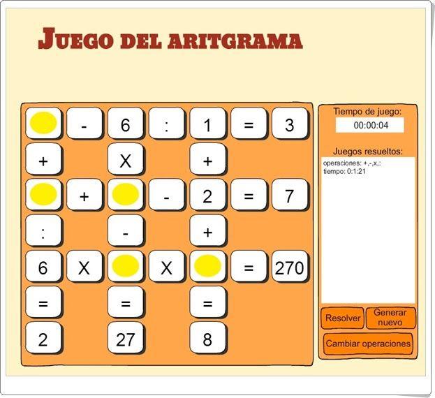 """El """"Juego del Aritgrama"""", de dibujosparapintar.com, es un juego para la práctica del cálculo mental completando las casillas vacías de series de operaciones que aparecen en horizontal y vertical. Se puede jugar en varios niveles de dificultad: desde sólo con sumas hasta con las cuatro operaciones, por lo que el juego es apropiado para niños de 7 a 11 años, aproximadamente."""