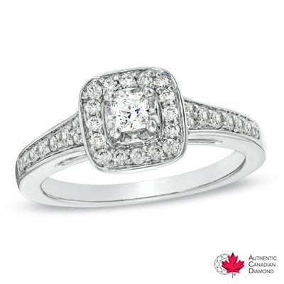 0.50 CT. T.W. Certified Canadian Princess-Cut Diamond Frame Ring in 14K White Gold (H-I/I1)