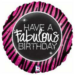 Birthday Fabulous Zebra Foil Balloon with National UK Delivery only £9.95 Boxed
