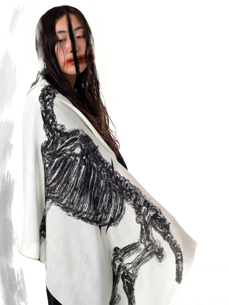 IA London – GHOST SCARF – Large digital printed scarf in unisex design, from the Shadows Have No Eyes collection.