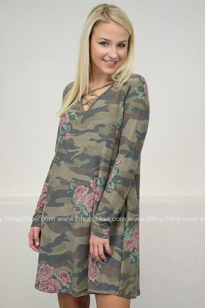 Army Camouflage Rose Pocket Dress #fashion #outfit #dress #women #floral #camouflage