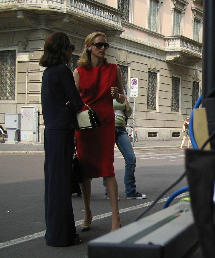 Tilda Swinton in a Jil Sander red shift.
