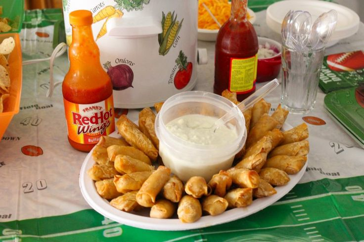 Dude Food? No way! It's Ladies Night ~buffalo chicken rolls, dips, yumm. Game day must have pin.