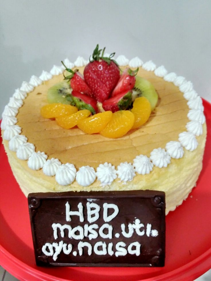 Japanese cheese cake with fruit for my twins daughter bday.
