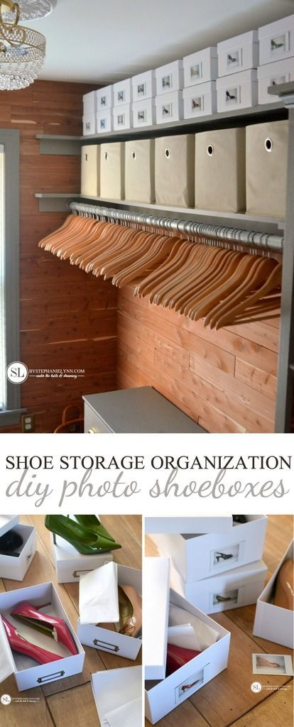 Shoe Storage Organization | DIY Photo Shoeboxes - if I were to ever store shoes in my closet, this would be how.  So sleek and clean looking.  I love it.