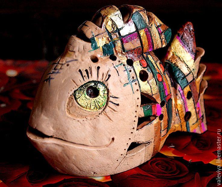 Купить Рыбка. - комбинированный, светильник, свечи ручной работы, подсвечник, рыба, керамические украшения