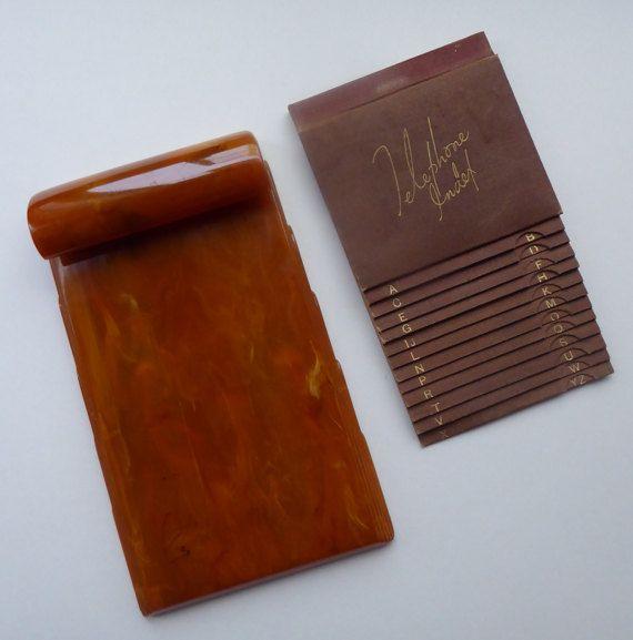1930s butterscotch bakelite notepad holder