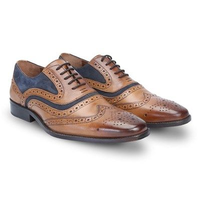 Buy Tan Leather Combination With Dark Blue #SuedeLeather Formal #BrogueShoes By #Brune Online at Best Price @ #voganow