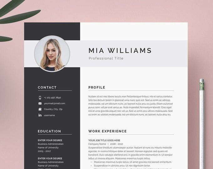 Clean Modern Resume Template 4 Page Cv Template Cover Etsy Modern Resume Template Resume Template Professional Resume Template