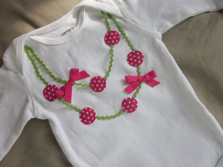 Double strand necklace applique onesie or tee in fushia pink and apple green…