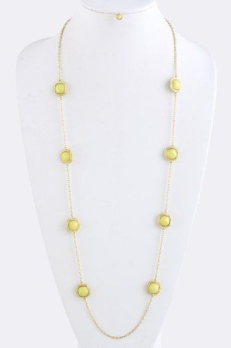 """Yellow Square Jewel Trim Chain Necklace - Jewel Trim Chain Necklace with Gold Accent StarShine Jewelry. $14.00. Lobster claw clasp with 3"""" extender. Lead compliant. Length approx 36"""". Jewel 0.5"""" x 0.5"""". Square jewel trim necklace"""
