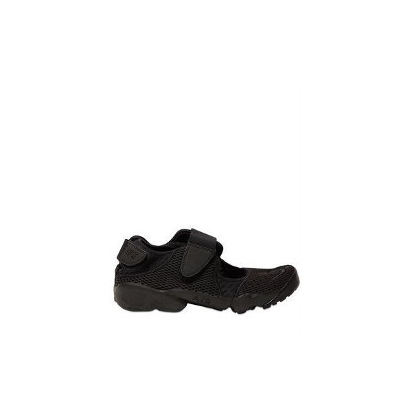 Nike Air Rift Mesh Sandal Sneakers (£83) ❤ liked on Polyvore featuring men's fashion, men's shoes, men's sneakers, mens velcro strap shoes, mens velcro shoes, mens mesh shoes, mens velcro strap sneakers and mens velcro sneakers
