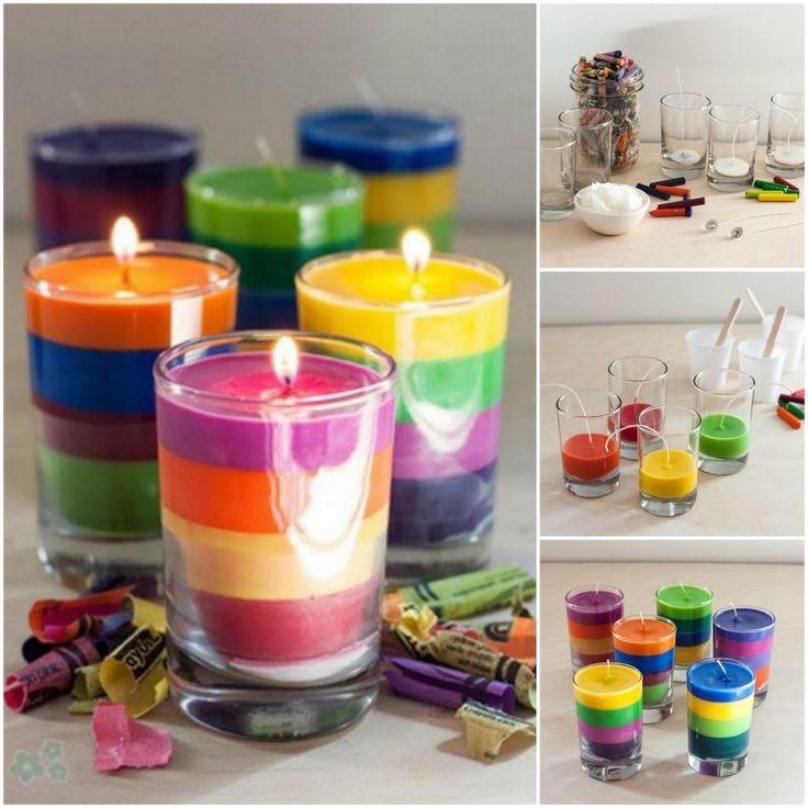 Tutorial para hacer velas de colores caseras recicladas a partir de restos de velas y crayolas (crayones). Muy fácil y decorativo.