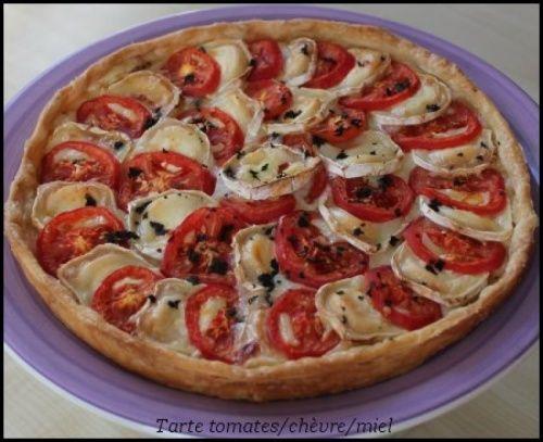 Tarte à la tomate, chèvre et miel