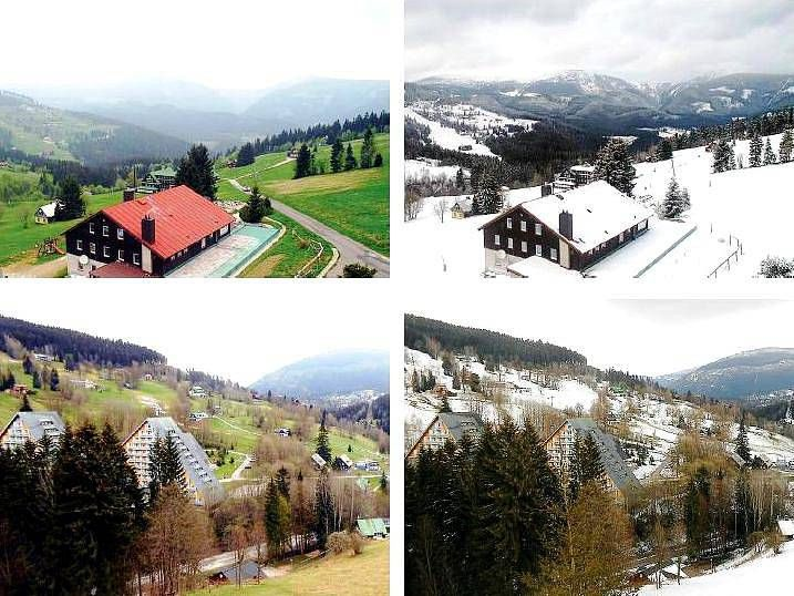 MÁLOKDO SI PAMATUJE, kolik bylo před rokem touhle dobou sněhu. Proto stojí za to porovnat snímky identických míst před dvanácti měsíci a nyní.  Třeba v Peci pod Sněžkou a Špindlerově Mlýně.