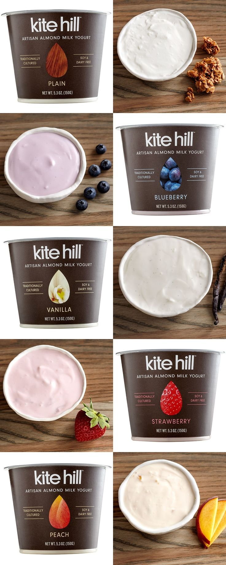 NEW Kite Hill Almond Milk Yogurt! Dairy-free, soy-free, gluten-free and vegan, but rich and creamy like true European-style yogurt. Made w/ four probiotic strains