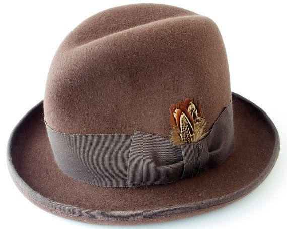 Homburg Felt Hat- Men's Hat- Custom Felt Hat- High Crowned Homburg Hat- Godfather Hat- Fall Fashion- Formal Hat- Dress Hat- Fedora Hat