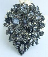 """Helenajewelry 4.13 """" черный анти-тон черный серый горный хрусталь хрустальный цветок брошь Pin подвеска EE03905C8"""