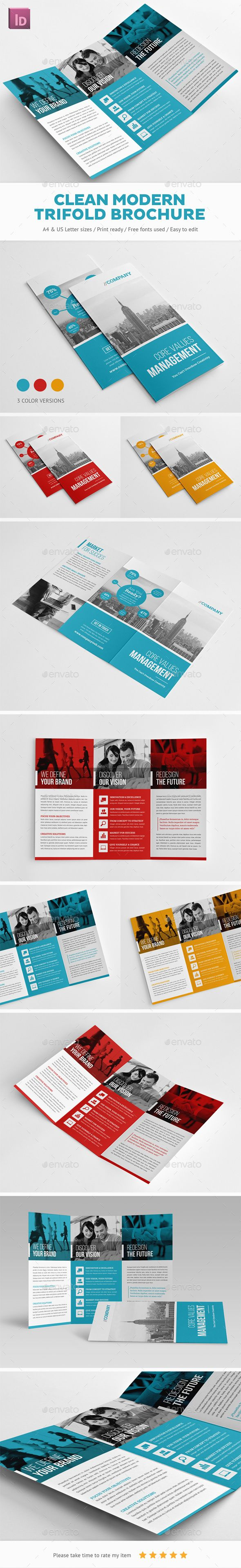 Clean Modern Trifold Brochure Design - Corporate Brochures Template InDesign IND...