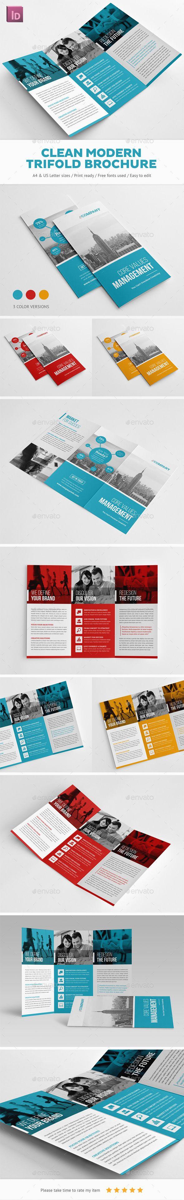 Clean Modern Trifold Brochure - Corporate Brochures