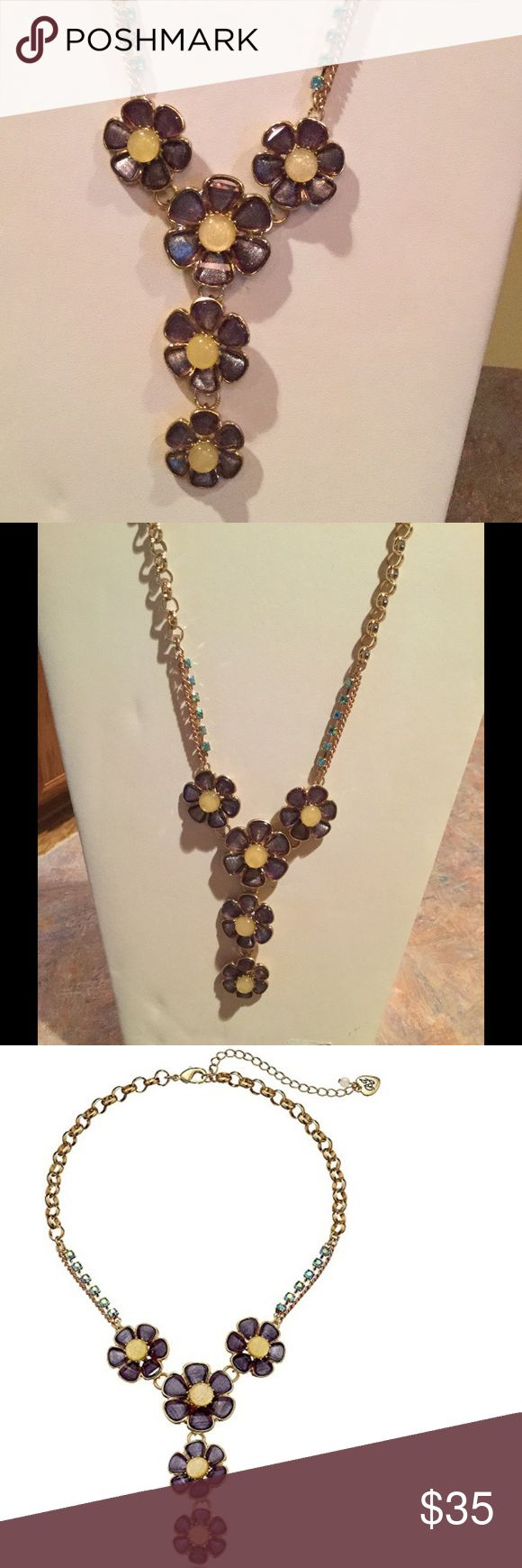 """NWT Betsey Johnson Spring Ahead Flower Y necklace NWT Betsey Johnson purple flower y shaped necklace; 16"""" with a 3"""" extender; goldtone chain with blue rhinestone part way up Betsey Johnson Jewelry Necklaces"""