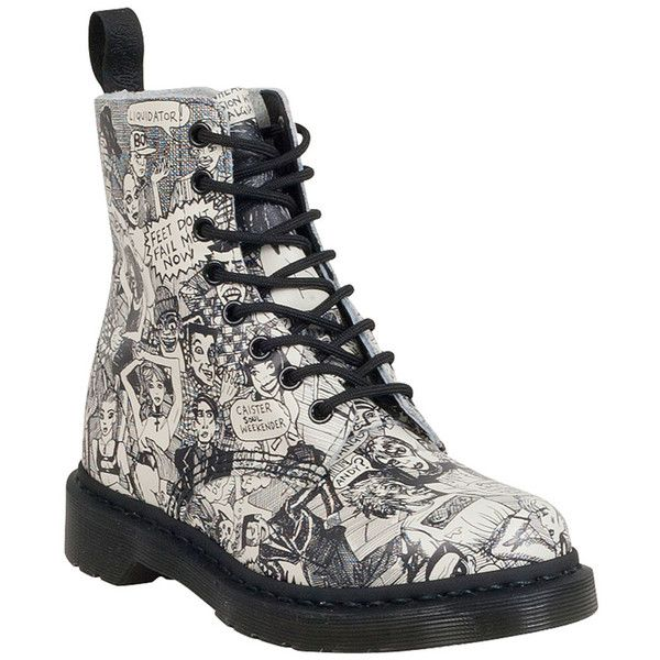 Dr. Martens Women's Wigan Party People Pascal Combat Boot (205 CAD) ❤ liked on Polyvore featuring shoes, boots, black and white, lace up boots, lightweight army boots, military lace up boots, combat booties and minnetonka® shearling-lined lace-up boots