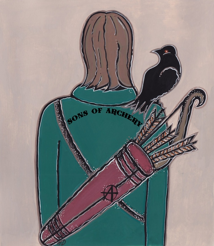 Holly DeWolf ~ Previously on Sons Of Archery...     So there is an interesting story behind this illustration. My oldest daughter misunderstood what was written on my boyfriends t-shirt which had 'Sons Of Anarchy' on it. She read it as 'Sons Of Archery.' This of course became a long running joke in the household and of course I HAD to illustrate it. So in honour of my daughter, I present this illustration in celebration of her funny and very entertaining misunderstanding.