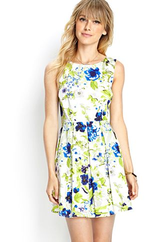 Floral Pleated Woven Dress