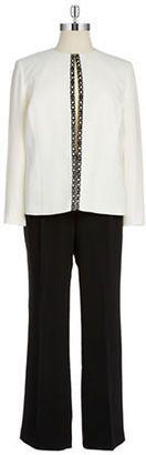 Tahari Arthur S. Levine Plus Embellished Pants Suit - Shop for women's Pants - Cloud White/Black Pants