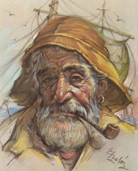 Painting of an old fisherman.