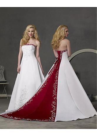 Buy discount Beautiful Elegant Satin A-line Strapless Wedding Dress In Great Handwork at Dressilyme.com