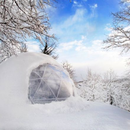 Garden Igloo, four seasons dome. What a cool feature for a garden, in summer as well as in winter.