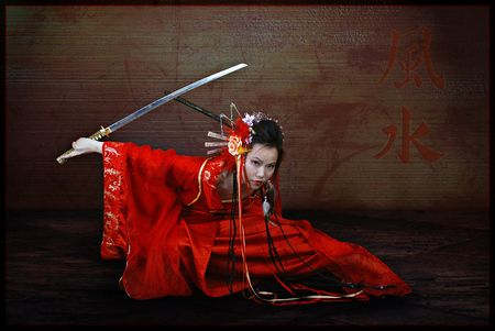 Samurai Girl - japanese, girls, photography, sword, red, beautiful, cool, model, woman, geisha, girl, samurai, samoerai, people