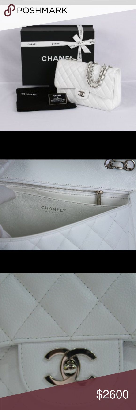 Chanel classic jumbo caviar white It is really like new comes with dust bag and card let me know if u want detail pics CHANEL Bags Shoulder Bags