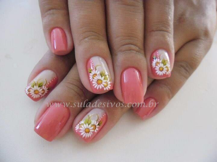 unhas rosê com flores - Pesquisa Google