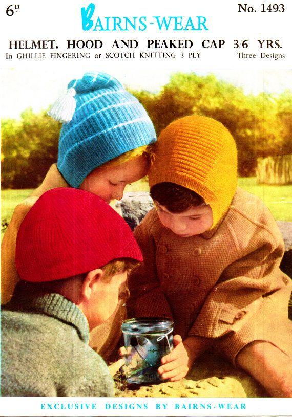 PDF Vintage Baby Hat Knitting Pattern Helmet Pixie Hood &