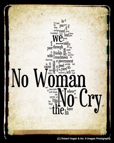 No Woman No Cry  Bob Marley Word Art  8x10 Word Cloud by no9images