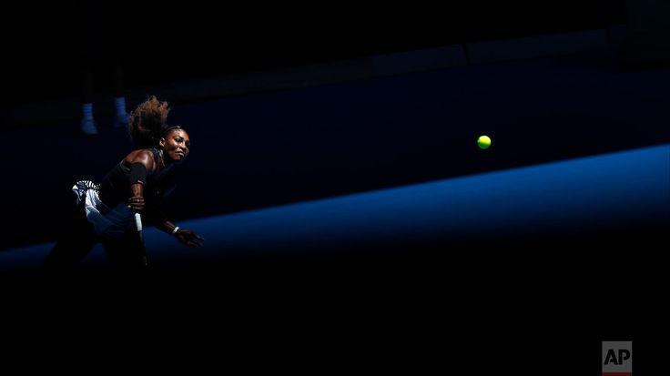 Australian Open Tennis United States' Serena Williams serves to Britain's Johanna Konta during their quarterfinal at the Australian Open tennis championships in Melbourne, Australia, on Jan. 25, 2017. (AP Photo/Kin Cheung)