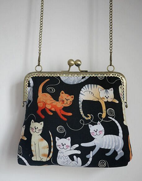Zwarte kat zak, metalen frame portemonnee/munt portemonnee / handtas/etui/koppeling/tote tas/kus vergrendelen frame tas