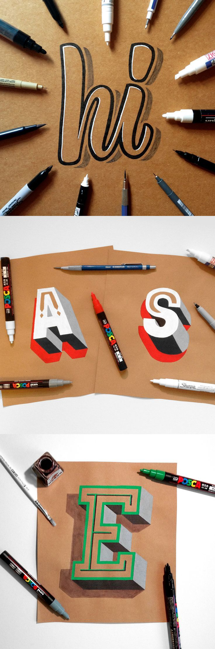 A collection of hand drawn typography on kraft paper by James Lewis and Ligature Collective.