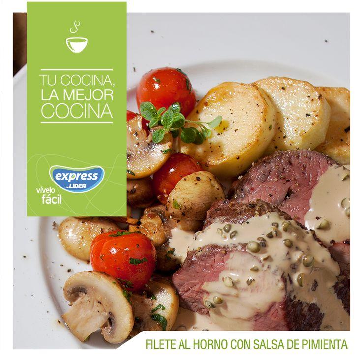 Filete al horno con salsa de pimienta / #RecetarioExpress #ExpressdeLider #Receta #Food #Foodporn # Filete #Pimienta #Salsa