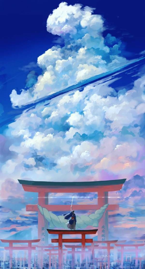 刀剣乱舞 令和元年 夏の陣 三日月 とある審神者 とうらぶ速報 刀剣乱舞まとめブログ ファンタジーな風景 青空 イラスト アニメの風景