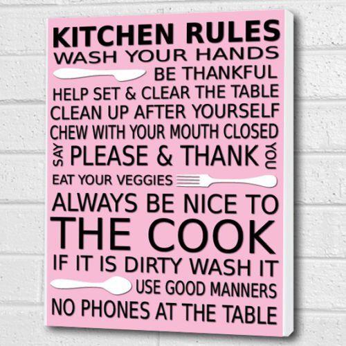 Kitchen Rules Wall Art Box Canvas   Pink   A3 12x16 Inch Cheryl Monaghan  Http: